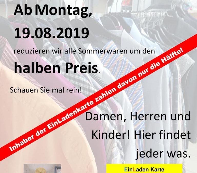 Sommerschlußverkauf ab 19.08.2019 im EinLaden am Obertor